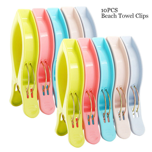 chair clips for beach towels big man leather lift pack of 10 pcs large bright color plastic towel to deck clothes pegs