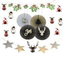 Christmas Paper Decoration Kit Honeycomb Santa Claus/Snowman/Deer Mistletoe Garland Reindeer Banner Fans Pinwheel Rosettes