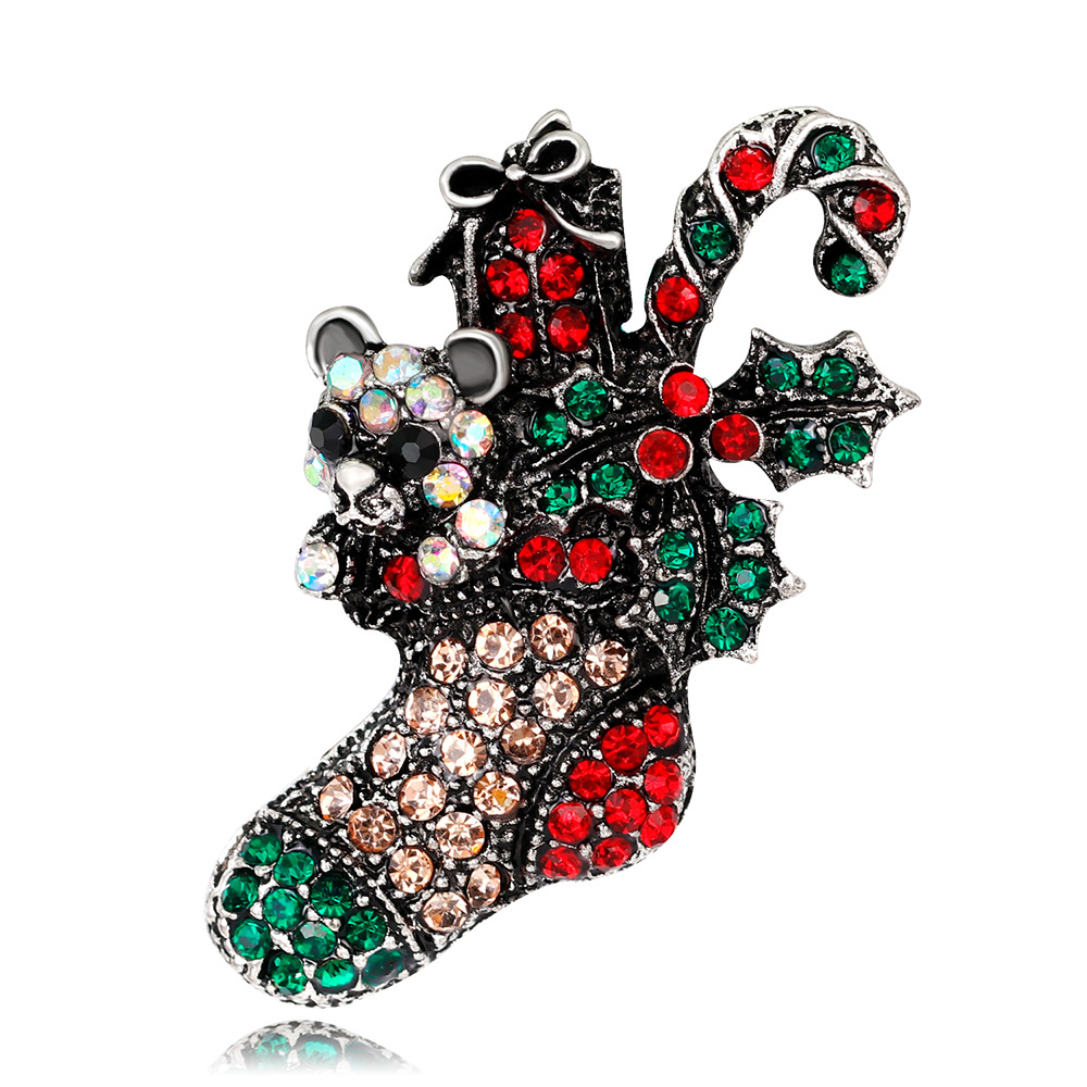 Young Tulip 2018 Christmas Vintage Boots Pins Full Crystal Brooch Fashion Jewelry for Women and Man Dress Suit Good Gift