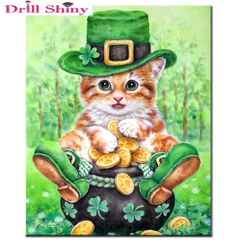 5D diy diamantové výšivky roztomilé malé kočky plné vrtačky diamantové malování křížovým stehem drahokamu dekorace dětský dárek