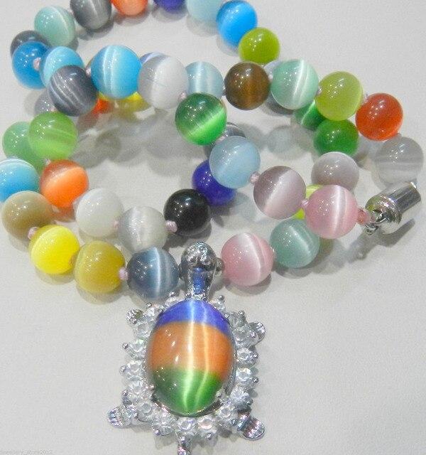Hot selling>@@ Hot sale new Style >>>>>New 8mm multicolor Sri Lanka Moonstone Gems Crystal Tortoise Pendant Necklace -Bride jewe