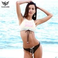 NAKIAEOI 2017 Sexy High Neck Bikini Swimwear Women Swimsuit Bandage Crop Top Push Up Brazilian Bikini