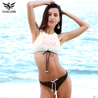 NAKIAEOI 2017 Sexy High Neck Bikini Swimwear Women Swimsuit Bandage Crop Top Push Up Brazilian Bikini
