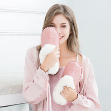 Large Size 43-46 Slip On Plush Shallow Ankle Boots Ladies Winter Indoors Round Toe Pink Suede Comfortable Flat Shoes For Girl round toe basic slip on suede flat ankle boots nubuck casual pleated khaki grayness comfortable women autumn winter shoes