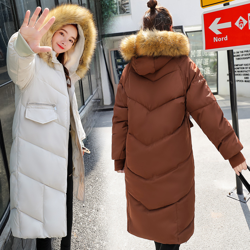 Hooded Fur Collar Winter   Down     Coat   Jacket Thick Warm Slim Women Casaco Feminino Abrigos Mujer Invierno 2018 Wadded Parkas 95