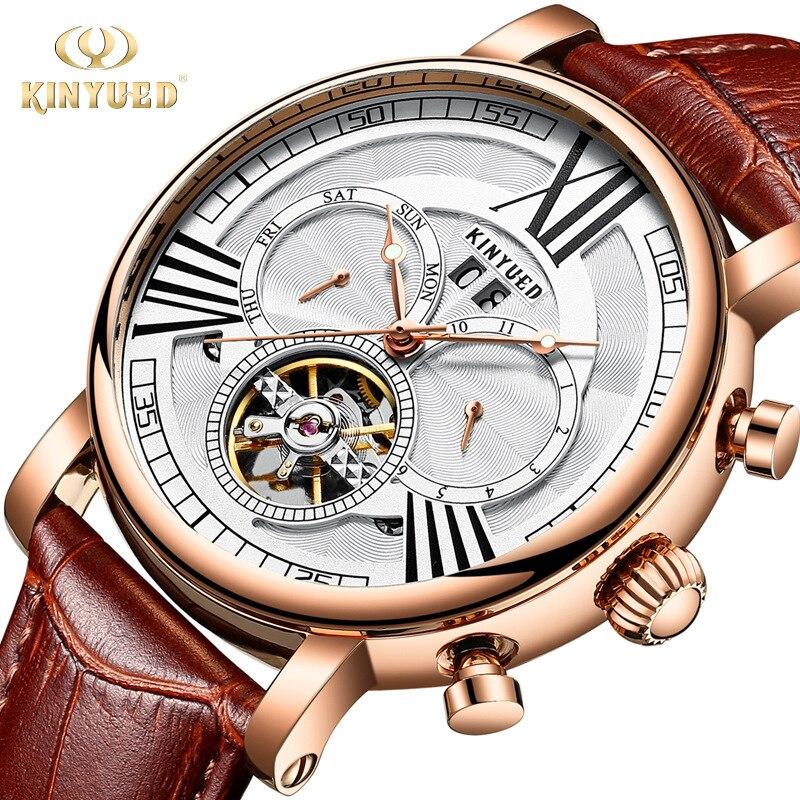 KINYUED 自動機械式時計メンズ高級ブランドトゥールビヨン時計永久カレンダー Army ミリタリー男性時計リロイ hombre  グループ上の 腕時計 からの 機械式時計 の中 1