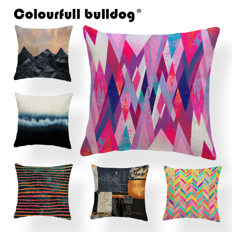 Geometry Diamond Cushion Flowers Tulip Pillow Scandinavian