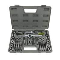40pcs Tap and Die Set Thread Gauge Wrench Tools Inch Metric Tap Holder Thread Gauge Wrench Set Threading Tool