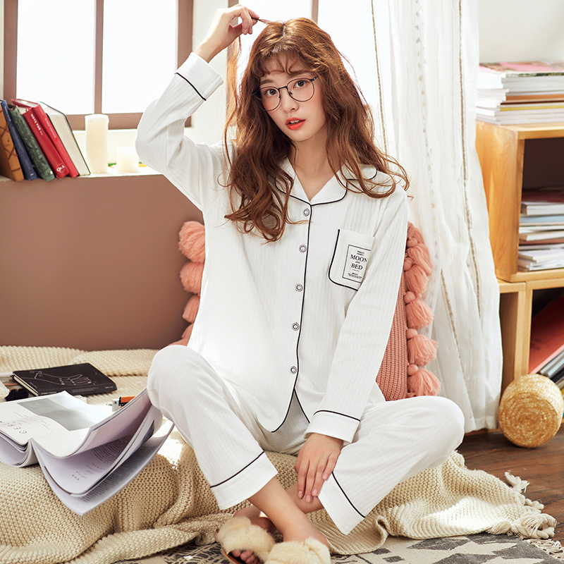 Spring Women Pajama Sets Pure Cotton Cardigan Long Sleeve Pajama Female Korean Two-piece Set Leisure Open Button Suit Home Wear