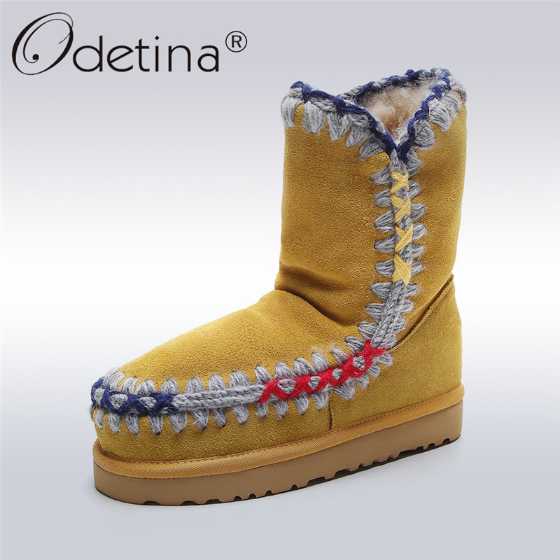 Odetina Genuine Sheepskin Leather Suede Snow Boots For Women Ankle Boots Natural Wool Fur Lined Winter Warm Shoes Big Size 33-43 2016 australia genuine sheepskin leather women snow boots 100% natural fur winter boots warm wool ankle boots
