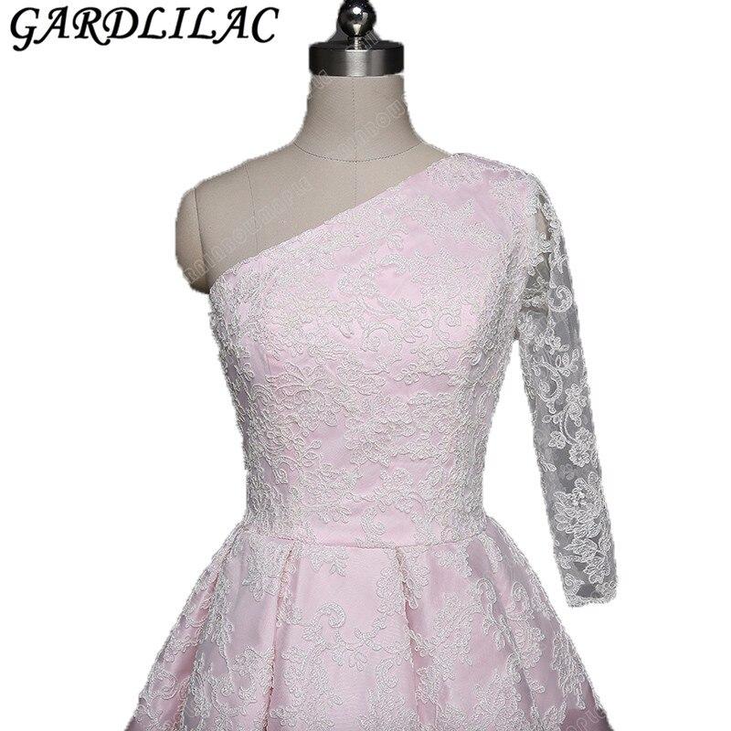 2017 nouvelles robes de Cocktail robes de soirée tache au-dessus du genou longueur une épaule dentelle Appliques offre spéciale robes de soirée vestido curto