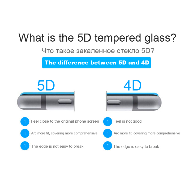 LEPHEE Full Curved 5D Tempered Glass For iPhone X 6 6S 7 8 Plus 3D ...