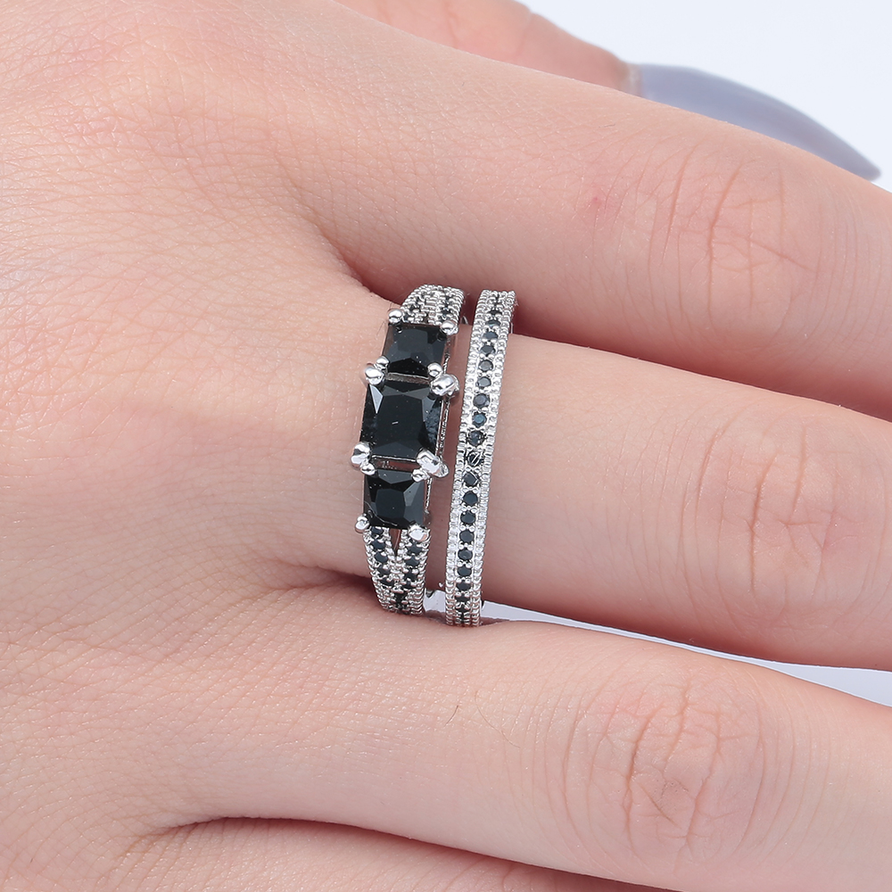 Rings sets new jewelry hot drop shipping princess Black Cubic Zircon ...