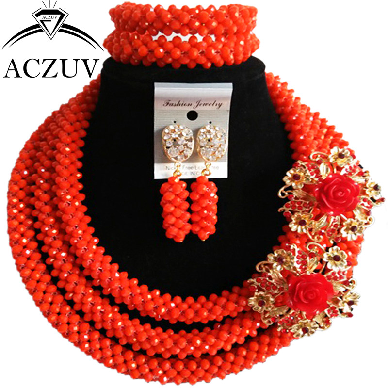 ACZUV Orange Red Crystal Indian Jewelry Set African Beads Nigerian Wedding Necklace and Earrings Bracelet Sets B3R002 : 91lifestyle