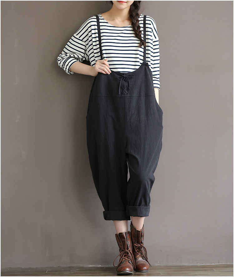 1cdae2d72d7a Plus Size Women Oversize Sleeveless Dungaree Jumpsuits Long Harem Trousers  Stylish Womens Long Loose Pants Preppy