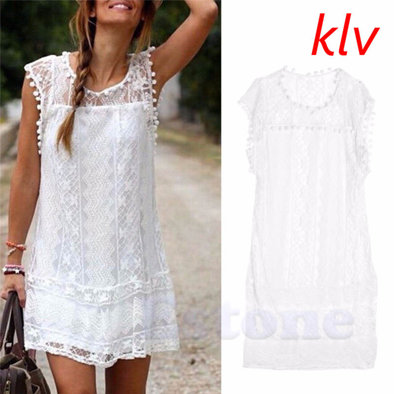 KLV Women Lace Short Sleeve Dress Casual Femininos Crochet Floral Lace Embroidery Dresses Sheer Boho People