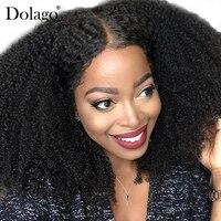 Афро кудрявый парик 250% плотность полный шнурок человеческих волос парики для Для женщин Glueless бразильского боб парик натуральный черные вол