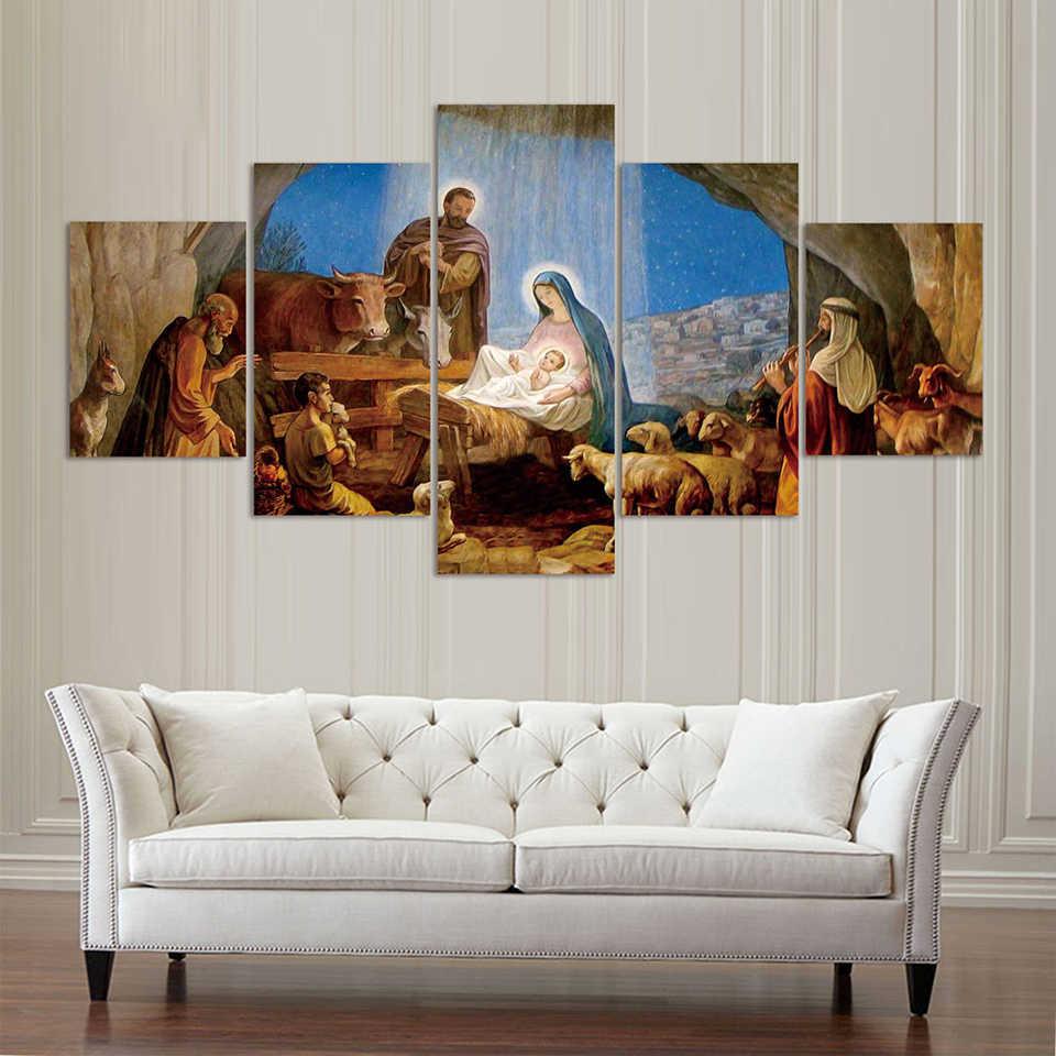 キャンバスプリント絵画壁アートポスター現代の寝室 5 個誕生クリスチャンイエスフレーム家の装飾リビングルームモジュラー画像
