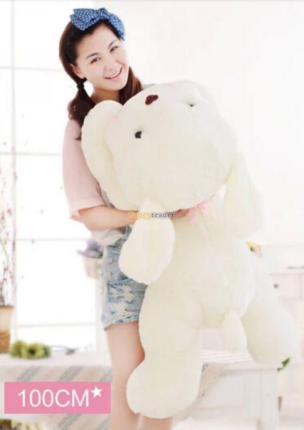 Fancytrader 39'' / 100cm Super Cute Plush Jumbo White Dog Toys, Nice Gift for Child, and Decoration Toys, Free Shipping FT50068  цена