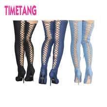 Hot Sale Amazing Jeanet Sexy Lace-up Pointed Toe Thin Heel Lady Long Boot Cross-tied High Heel T-Stage Women Over-the Knee shoes