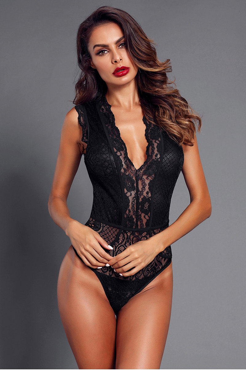Black-V-Neck-Hollow-out-Lace-Bodysuit-LC32247-2-5