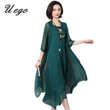 Uego 2020 Fashion Thin Light Two Piece Set Summer Dress Suits Embroidery Floral Linen Plus Size Loose Women Casual Long Dress
