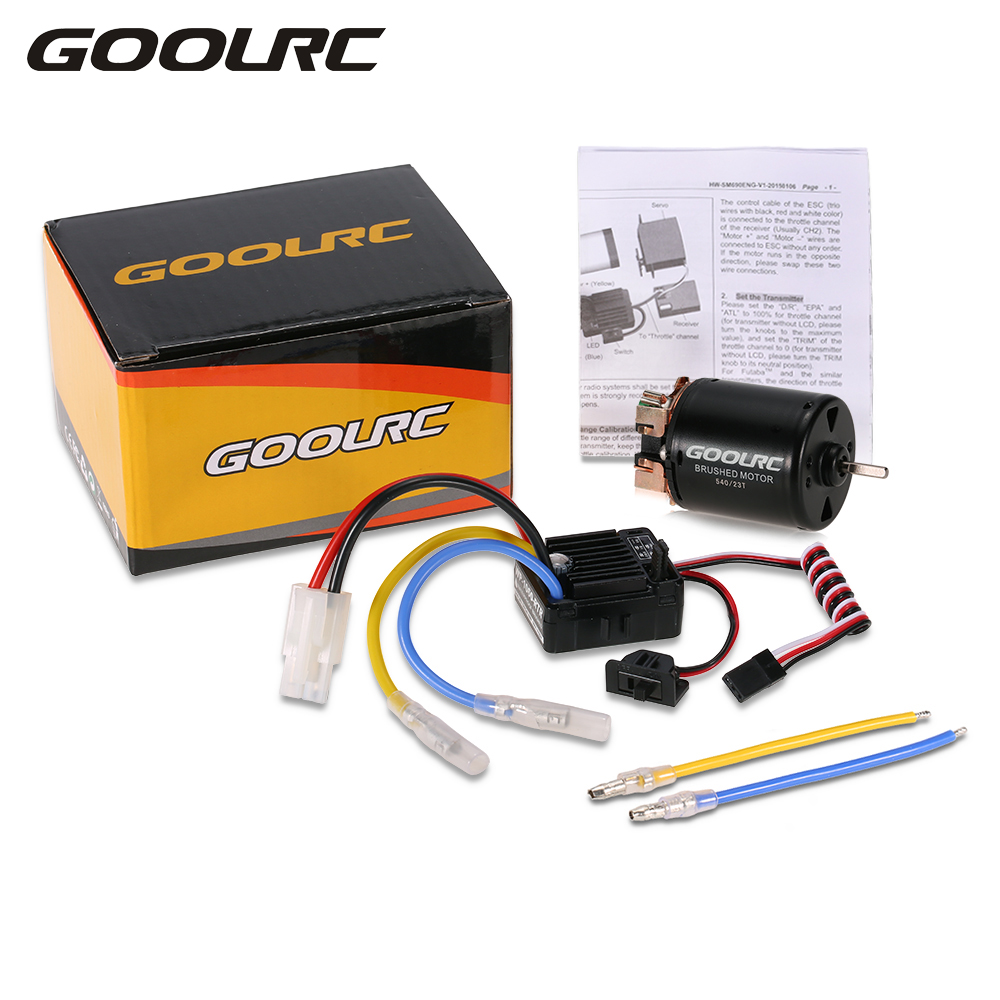 GOOLRC 540 23T 2.4A Brushed Motor with 60A Brushed ESC Combo for 1/10 On-road Drift Touring RC Car Model Toy goolrc rc cars motor 540 55t carbon brushed motor 60a esc combo 1 10 axial scx10 rc4wd d90 rc crawler climbing car model part