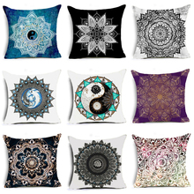 2018 Bohemian Mandala Style Cushion Cover Polyester Cotton Geometric Printing Home Decorative Pillow for Sofa Car Cojines