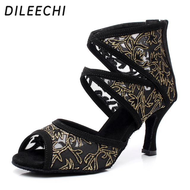 fcdc260007c8 DILEECHI Brand Women s Black Mesh Latin dance shoes adult high heels ...