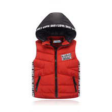 2016 New Autumn And Winter Children's Vest Hooded Girls Sets Warm Down Cotton Boys Vests Black Red Army Green For 3-8 years