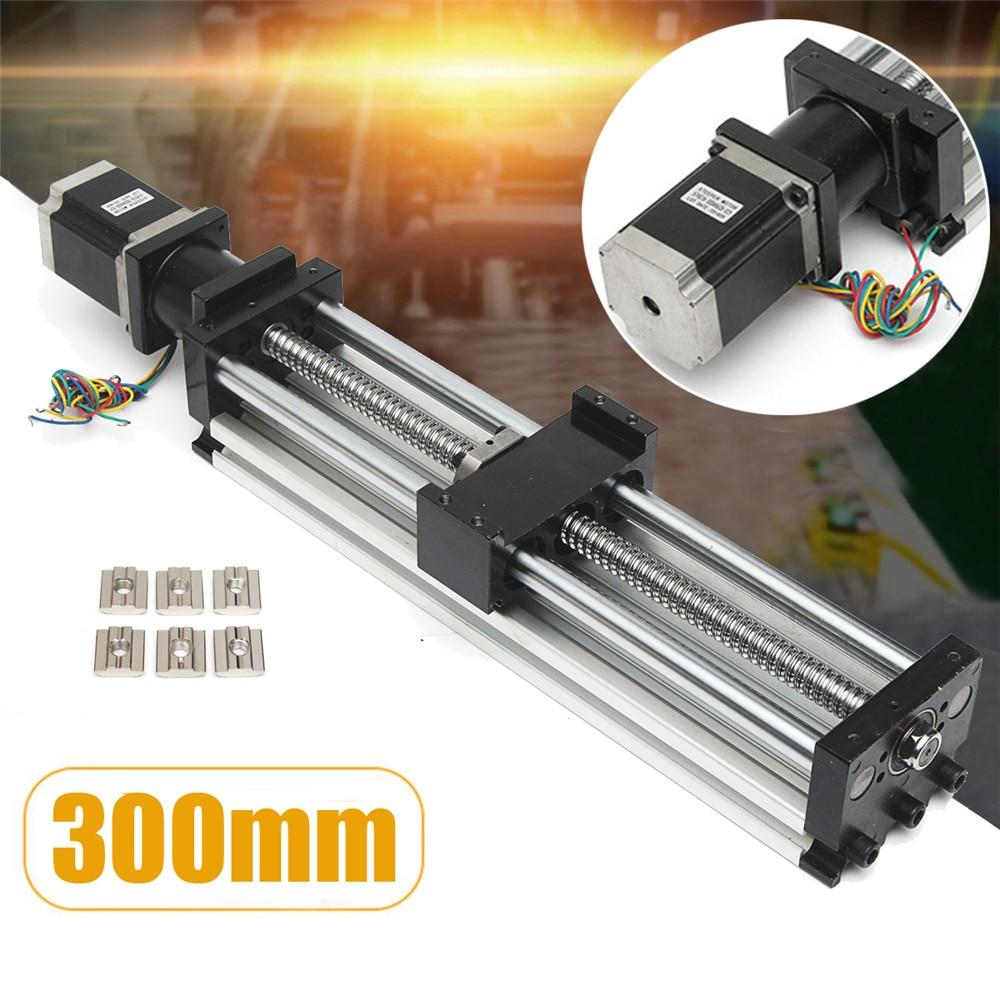 CNC Guides linéaires bricolage Table vis à billes mouvement glissière actionneur glissière Rail avec moteur pas à pas 300mm glissière course 3d pièces d'imprimante