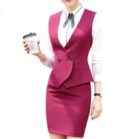 3125849915 Biznes wywiad spódnica garnitury zestaw kobiety 2018 moda nowe formalne  dopasowana kamizelka i biuro panie plus size mundury pracy. Business  Interview Vest ...