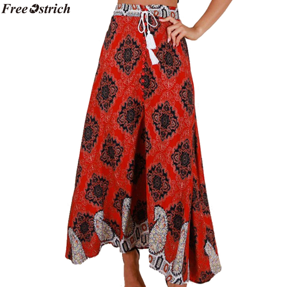 574505494a821 FREE OSTRICH 2019 Women's summer women's bohemian high waist bandage button  beach print long skirt skirt street style skirt