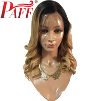 PAFF Ombre Full Lace Human Hair Wig For Black Women Brazlian Remy Hair 150% Density Side Part Two Tone Color Hair Wig Baby Hair