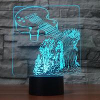 Creative 7 Color Change 3D Vision Guitar Waterfall Shape Desk Lamp Led Night Lights Usb Baby