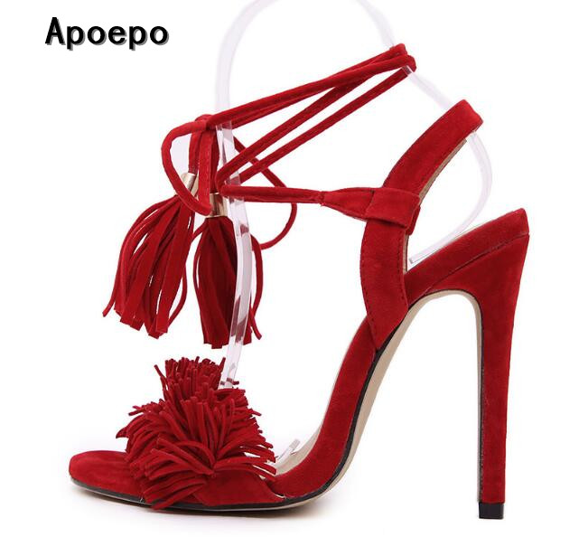 New fashion red suede fringed high heel sandal 2017 sexy open toe lace-up woman shoes Summer fashion gladiator shoes blue black black sequins embellished open back lace up top