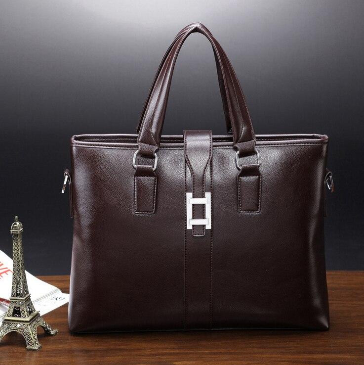 ФОТО 2016 New men bag brand business Men's business handbag high-quality PU briefcase computer bag Men's Messenger Bag zs214