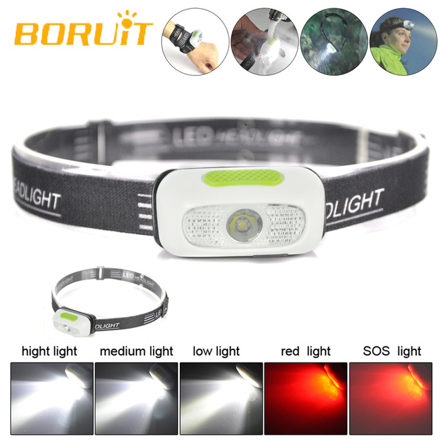 Boruit  B7 LED Headlamp Night Running USB Rechargeable LED Headlamp Waterproof White Red SOS Mini Camping Head Lamp Flashlight