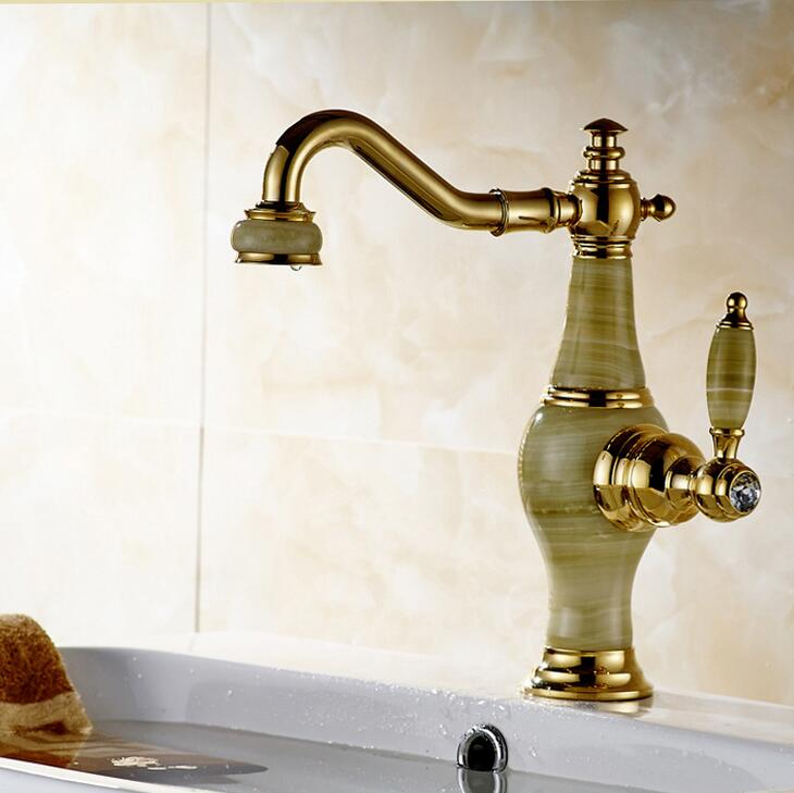 New luxur Golden Brass Jade Body Bathroom Basin Faucet Deck Mount Countertop Mixer Tap Hot and cold water the venom of luxur