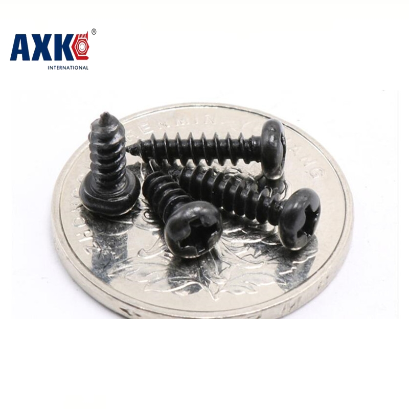 Parafusos Drywall Axk 1000pcs M1*3/4/5/6 1mm Black Micro Electronic Screw Cross Recessed Phillips Round Pan Head Self Tapping 2017 new real axk 100pcs m1 7 m2 m3 stainless steel electronic screw cross recessed phillips round pan head self tapping