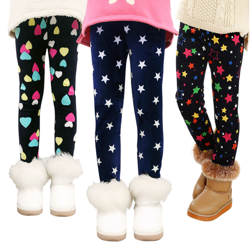 Girls Leggings 2018 Winter Autumn Fall Fashion Thick Warm Clothes Print Kids Pants Children Pants