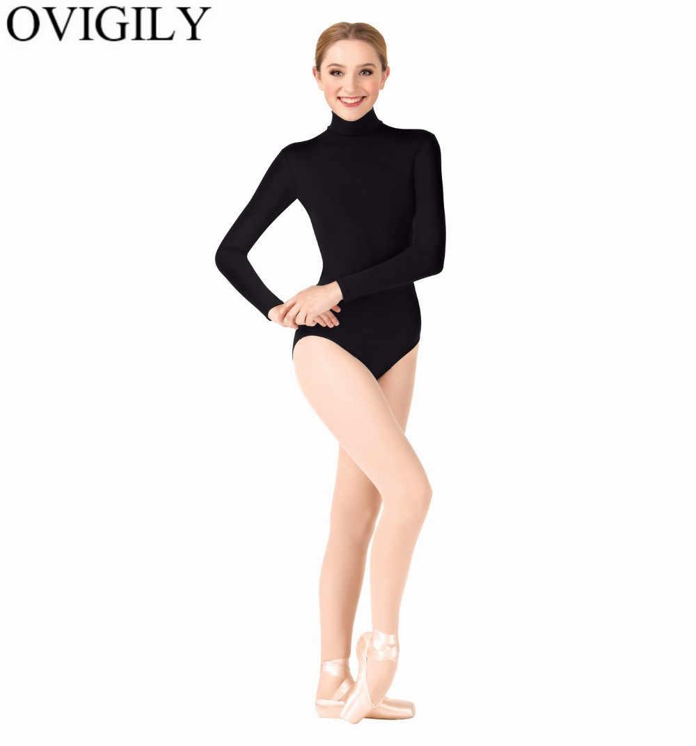 OVIGILY damski trykot z golfem na taniec baletowy dorośli czarne długie rękawy trykoty gimnastyczne body nauczanie klasy topy
