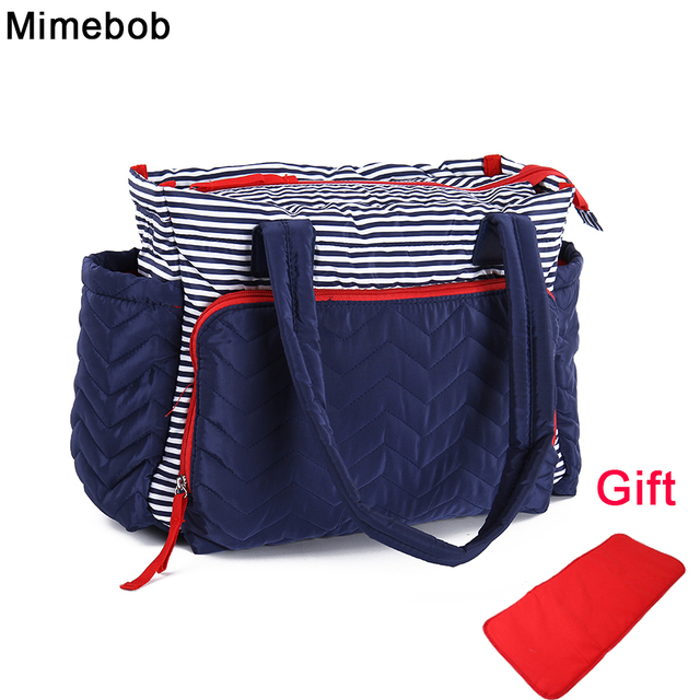 Women Stripe duffel bag High capacity Mummy baby Diaper Bag with Pad mommy  Large Travel Bag fe11d9eb73