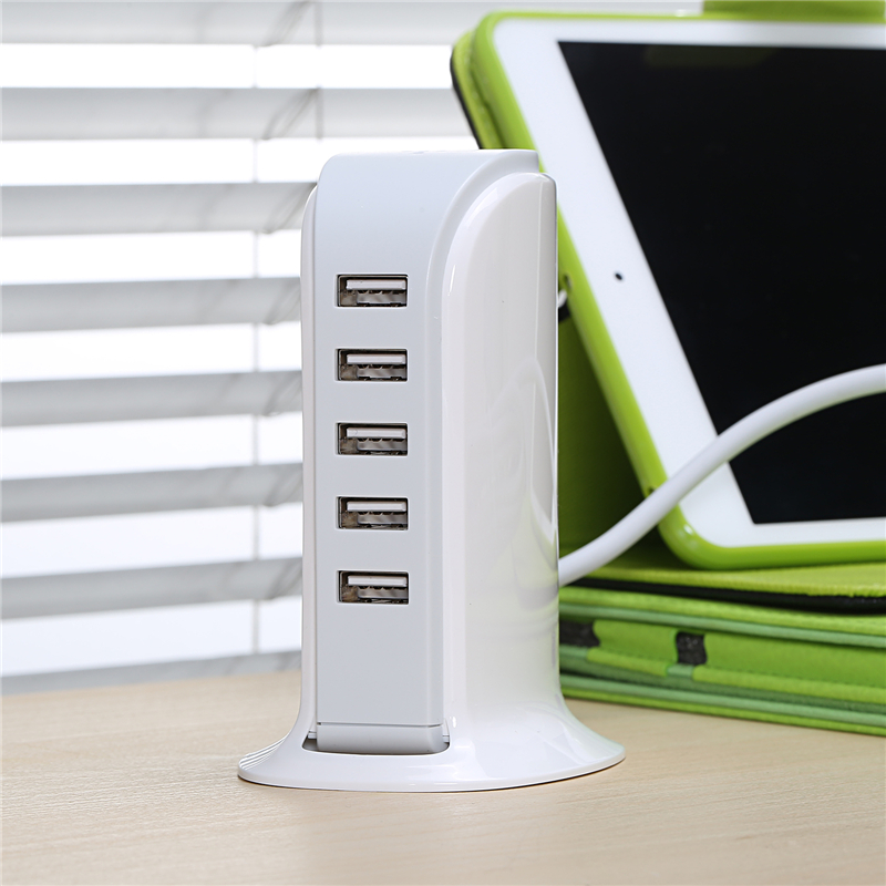 5 port USB Mobile Phone Charger 5V 6A Power Adapter EU/US/UK plug AC Wall Charger Travel Home Power Charger for Samsung Laptop