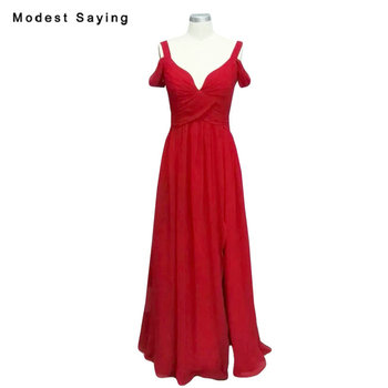 Real Photo Red Sweetheart Pleated Bridesmaid Dresses 2018 with Straps Long Maid of Honor Party Prom Gowns with Plunging V Back