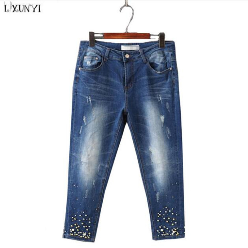 ФОТО Large Size jeans for Women Spring New Washing Beading Denim Pants 2017 Ripped  jeans High Waist Slim Ankle Length Pantalon femme