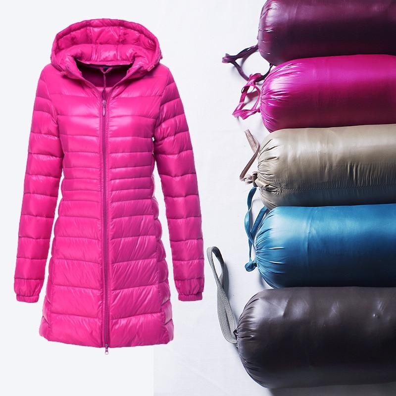 Winter Female Coat 90% White Duck Down Coat Women Slim Ultra light down jacket Hooded Long Sleeve Zipper Outwear Big Size