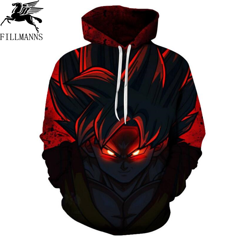 FILLMANNS Dragon Ball Z Hoodies Men 3D Printed Pullovers Sportswear Dragonball Super Saiyan Goku Black Zamasu Sweatshirts