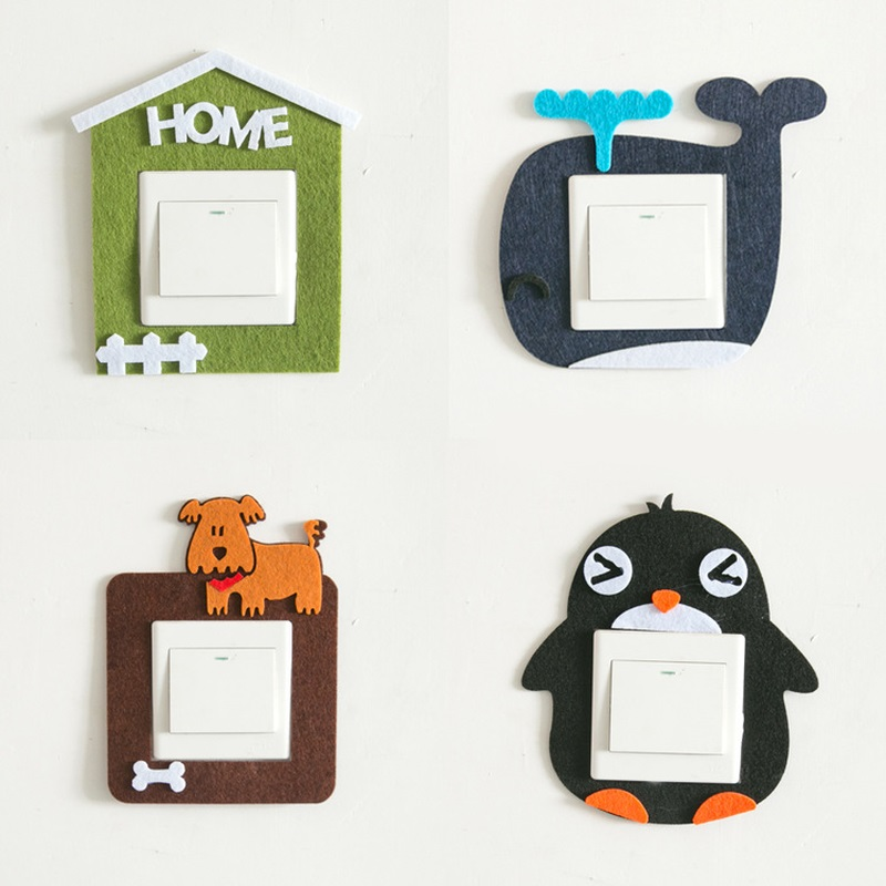 2018 New Cartoon Light Switch Protection Covers Bedroom Decor Electrical Safety Push Home Decors Button Switch Wall Stickers
