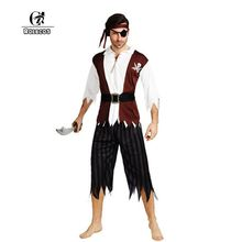 ROLECOS Brand New Men Halloween Costumes Pirate Cosplay Costumes Men Pirate Halloween Party Costumes Full Set Top Pants and Hat